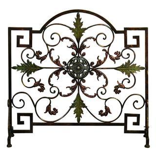 Gracewood Hollow Ignacia Uniquely Designed Single Panel Metal Fire Screen, Bronze and Green