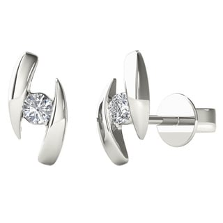 10k White Gold Diamond Accent Fashion Stud Earring
