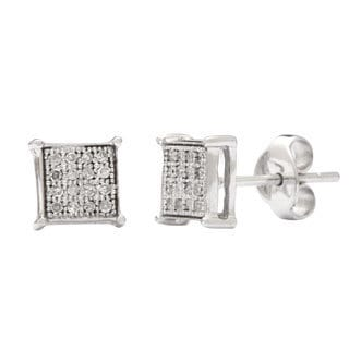 10k White Gold 1/8 TDW Children's Diamond Square Stud Earrings (H-I, I2)