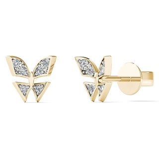 AALILLY 10k Yellow Gold Children's Diamond Accent Butterfly Earring