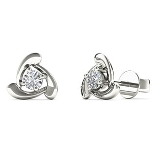 AALILLY 10k White Gold 1/8ct TDW Diamond Triangle Stud Earrings