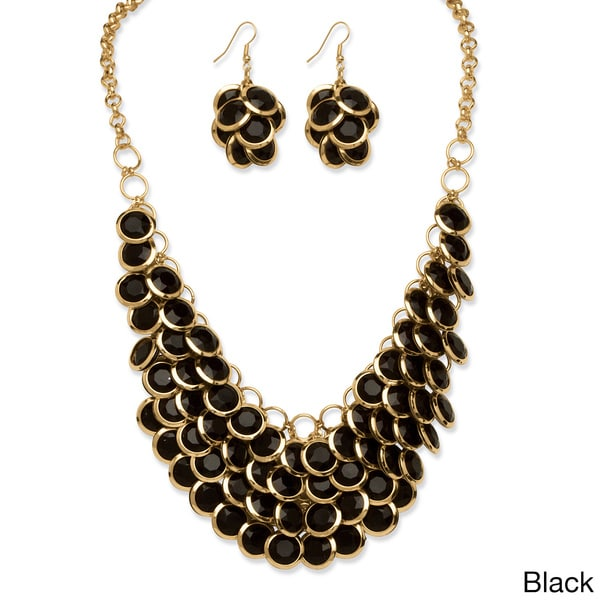 2 Piece Orange Bib Necklace and Cluster Earrings Set