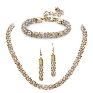 PalmBeach Crystal Rope Necklace, Bracelet and Drop Earrings Set in Gold Tone Bold Fashion