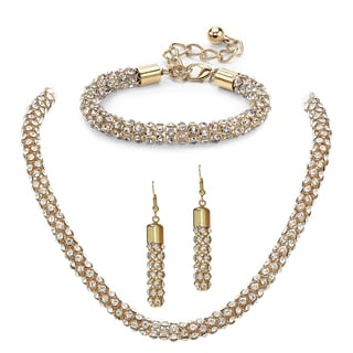 Crystal Rope Necklace, Bracelet and Drop Earrings Set in Gold Tone Bold Fashion