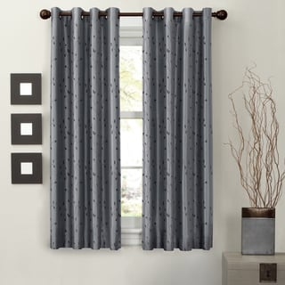 Maytex Jardin Embroidered 63-inch Thermal Lined Energy Curtain Panel
