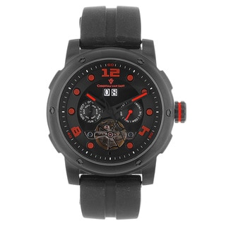 Christian Van Sant Men's Skull Rubber-strap Watch