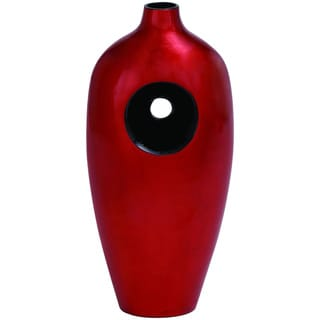 Intricately Carved Ceramic Lacquer Vase with Fiery Red Tint