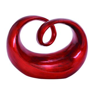 Contemporary Polystone Red Round Abstract Sculpture