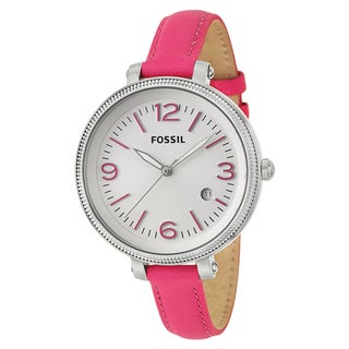 Fossil Women's 'Heather' Pink Stainless Steel Quartz Watch