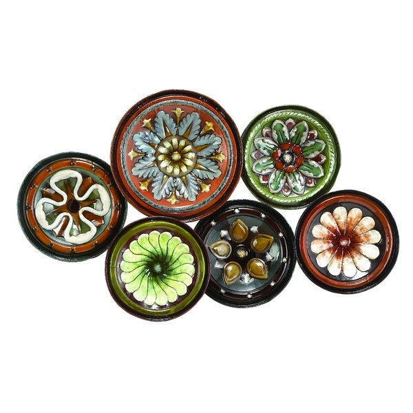 Metal Wall Decor With Six Round Plates Free Shipping