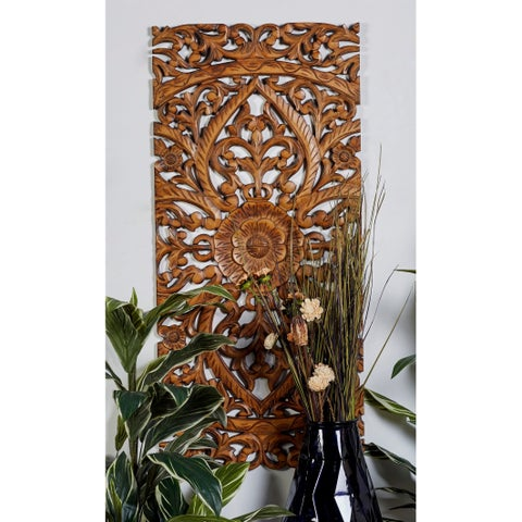 "22"" x 48"" Set of 3 Hand-Carved Brown Wood Wall Panels by Studio 350"