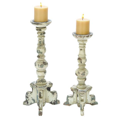 The Gray Barn Joyful Stream Wooden Candle Holder in Contemporary Rubbed Finish - Set of 2