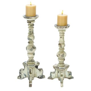 Maison Rouge Lamartine Distressed Wood Candle Holders (Set of 2)