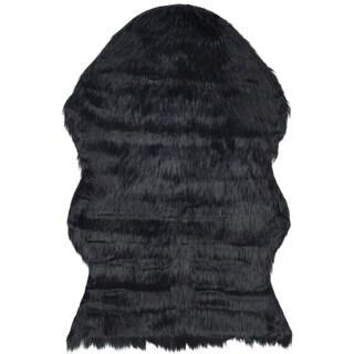 Safavieh Handmade Faux Sheepskin Black Japanese Acrylic Rug (2' x 3')