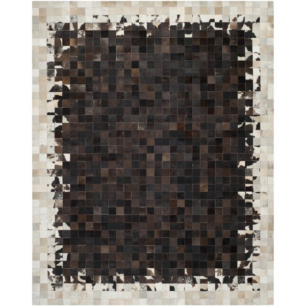 Safavieh Hand-woven Studio Leather Modern Abstract Ivory/ Dark Brown Rug - 8' x 10'