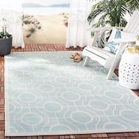 Safavieh Courtyard Modern Ogee Aqua/ Light Grey Indoor/ Outdoor Rug - 6'7 x 9'6