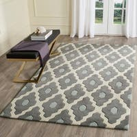 Safavieh Handmade Moroccan Chatham Contemporary Dark Gray/ Ivory Wool Rug - 5' x 8'
