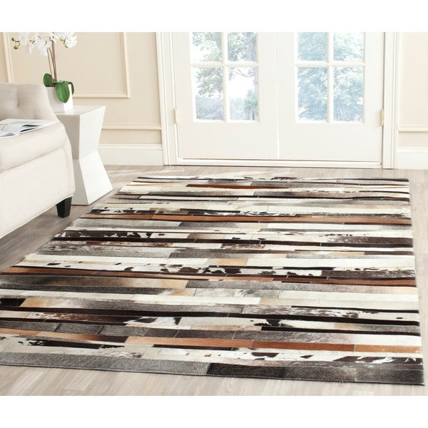 Safavieh Hand-woven Studio Leather Modern Abstract Ivory/ Brown Rug - 8' x 10'