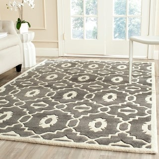 Safavieh Handmade Moroccan Chatham Trellis-pattern Dark Gray/ Ivory Wool Rug (5' x 8')