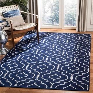 Safavieh Hand-woven Moroccan Reversible Dhurries Navy/ Ivory Wool Rug (9' x 12')