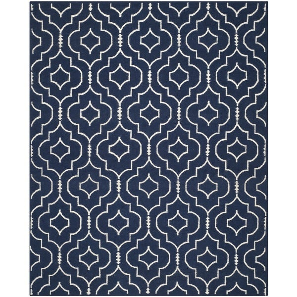 Safavieh Hand-woven Moroccan Reversible Dhurries Navy/ Ivory Wool Rug - 9' x 12'