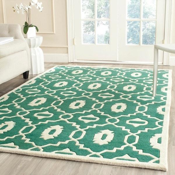 Safavieh Handmade Moroccan Chatham Teal/ Ivory Wool Rug