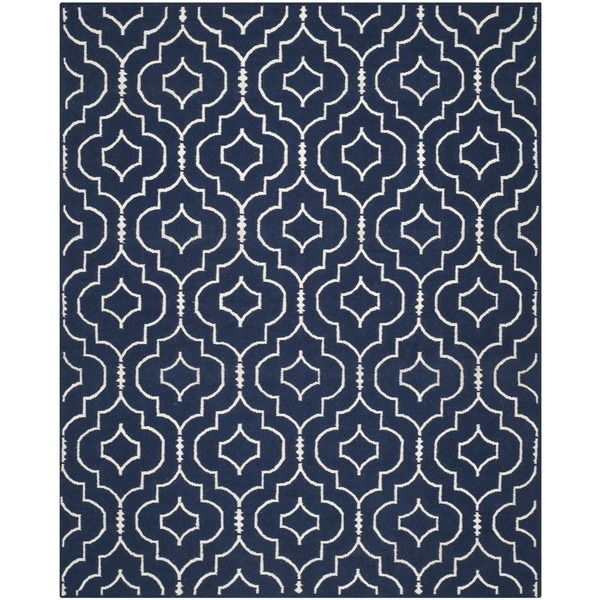 Safavieh Hand-woven Moroccan Reversible Dhurries Navy/ Ivory Wool Rug - 8' x 10'