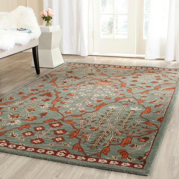 Safavieh Handmade Wyndham Blue/ Rust Wool Rug (5' x 8')