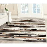 Safavieh Hand-woven Studio Leather Modern Abstract Ivory/ Brown Rug - 4' x 6'