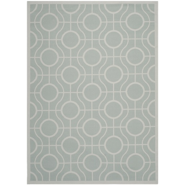 Safavieh Indoor/ Outdoor Courtyard Aqua/ Light Grey Rug (5'3 x 7'7)