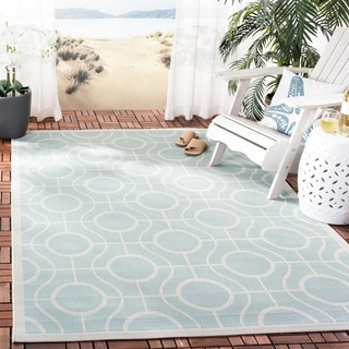Safavieh Courtyard Modern Ogee Aqua/ Light Grey Indoor/ Outdoor Rug (5'3 x 7'7)