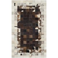 Safavieh Hand-woven Studio Leather Modern Abstract Ivory/ Dark Brown Rug - 3' x 5'