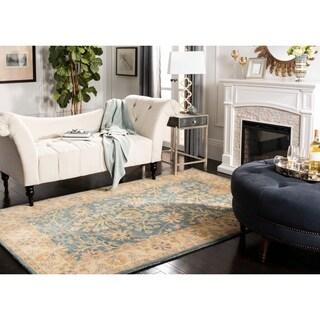 Safavieh Handmade Classic Blue/ Light Gold Wool Rug (6' Square)
