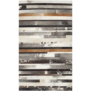 Safavieh Hand-woven Studio Leather Modern Abstract Ivory/ Brown Rug - 3' x 5'