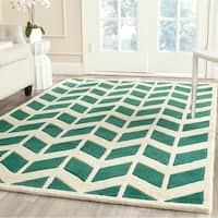 Safavieh Handmade Moroccan Chatham Chevron-pattern Teal/ Ivory Wool Rug - 8' x 10'
