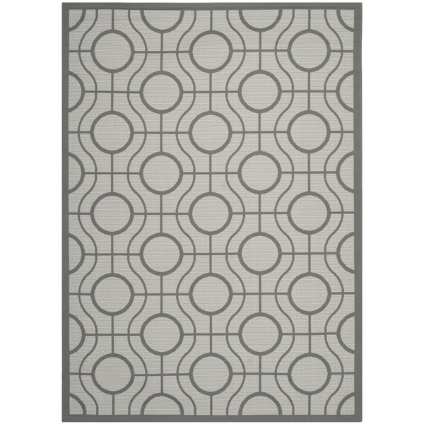 Safavieh Courtyard Modern Ogee Light Grey/ Anthracite Indoor/ Outdoor Rug - 8' x 11'