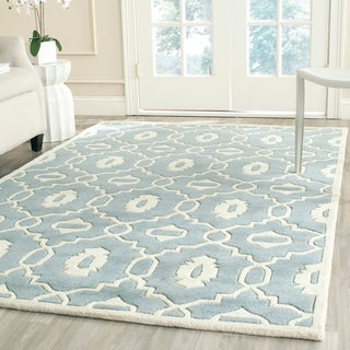 Safavieh Handmade Moroccan Chatham Collection Blue/ Ivory Wool Rug (4' x 6')