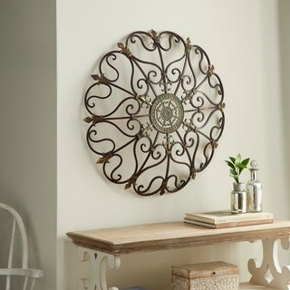 Traditional 29 Inch Ornate Metal Wall Decor by Studio 350