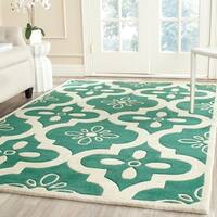 Safavieh Handmade Contemporary Moroccan Chatham Teal/ Ivory Wool Rug - 8' x 10'