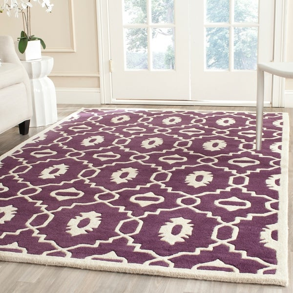 Safavieh Handmade Moroccan Chatham Contemporary Purple/ Ivory Wool Rug - 8' x 10'