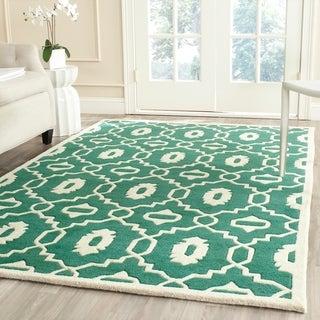 Safavieh Handmade Moroccan Chatham Geometric-pattern Teal/ Ivory Wool Rug (8' x 10')