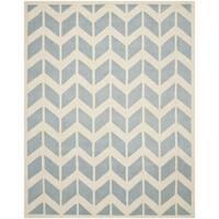 Safavieh Handmade Moroccan Chatham Chevron-pattern Blue/ Ivory Wool Rug - 8' x 10'