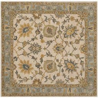 Safavieh Handmade Classic Ivory/ Light Blue Wool Rug - 6' Square