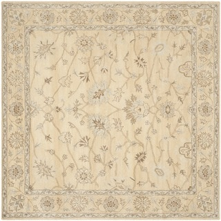 Safavieh Handmade Wyndham Light Gold/ Light Gold Wool Rug (7' Square)