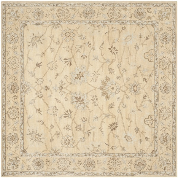 Safavieh Handmade Wyndham Light Gold/ Light Gold Wool Rug (7' Square)