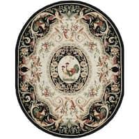 Safavieh Hand-hooked Chelsea Ivory/ Black Wool Rug - 7'6' x 9'6' oval