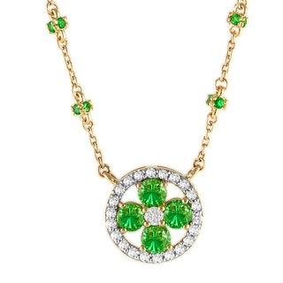 Beverly Hills Charm 14k Yellow Gold 1/5 TDW Tsavorite Necklace (H-I, SI2-I1)