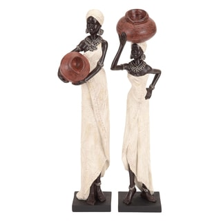 Table Top Polystone African Sculptures Set (Set of 2)