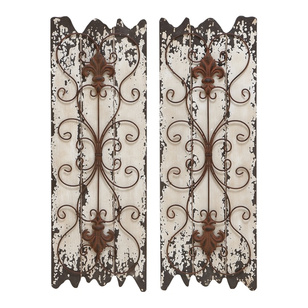 Wood And Metal Wall Decor Panel (Set Of 2)