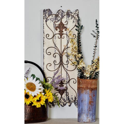Wood and Metal Wall Decor Panel (Set of 2) - White